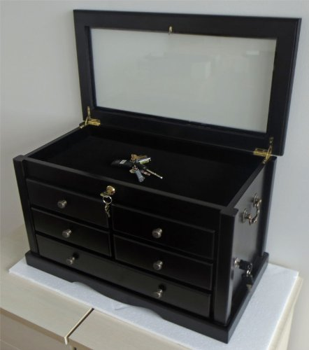 Collector's Choice Knife Display Case Cabinet, Tool Storage cabinet, Solid Wood, Gallery Quality (Black Finish)