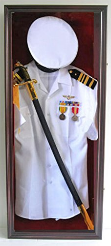 Military Shadow Box Uniform Sword/Gun Display Case, with Lock. Black Finish (Mahogany Finish)