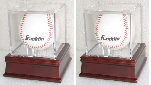 Set of 2, Baseball Display Case with Wooden Stand, B03CH-Q2