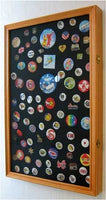 LARGE Pin Medal Display Case Shadow Box Display Case, with Glass Door, (Oak Finish)
