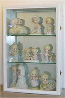 Wall Curio Cabinet / Figurine Display Case Wall Mounted, Glass Door, Mirrored Back, CD01B-WH