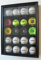 Solid Wood 20 Baseball or Cube Display Case Cabinet, with 98% UV protection. with Lock and Keys (Black Finish)