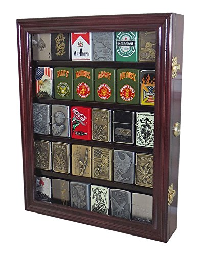 Lockable Cigarette/Sport Lighter Display Case Wall Cabinet Shadow Box LC30 (Mahogany)