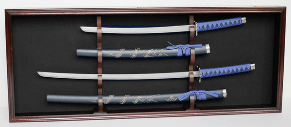 Dual Sword Display Case Cabinet Stand Holder Wall Rack- for Katana, Samurai, Bushido, Shirasaya Sword