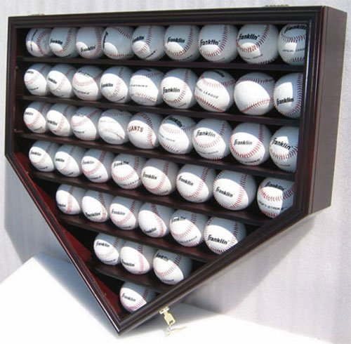 46 Baseball Display Case Wall Cabinet Holder Shadow Box, UV protection (Mahogany Finish)