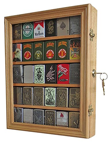 Lockable Cigarette/Sport Lighter Display Case Wall Cabinet Shadow Box LC30 (Oak)