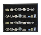 Display Case Wall Cabinet Shadow Box for Belt Buckle Collection, BC02-BL (Black)