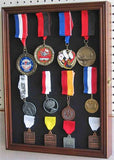 Collector Medal/Lapel Pin Display Case Holder Cabinet Shadow box PC01 (Walnut Finish)