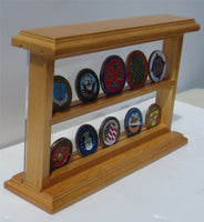 Challenge Coin Display Case Standing Showcase, Solid Wood, (Oak Finish)