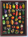 Refrigerator / Souvenir / Sports Magnets Display Case Wall Shadow Box Cabinet (Cherry Finish)