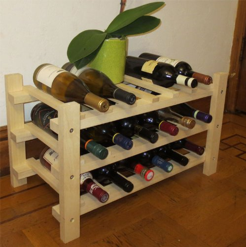 DisplayGifts Wine Rack Stackable Storage Stand, Solid Wood Display Shelves (18 Bottles Capacity)