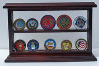 Challenge Coin Display Case Standing Showcase, Solid Wood, COIN10-MA