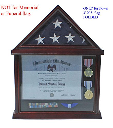 Flag Display Case Military Shadow box for 3'X5' U.S. Flag, Hardwood, Mahogany Finish