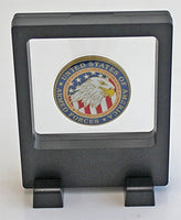 Square Medallion Medal Challenge Coin Casino Chip Display Case Stand Holder Magic Suspension, Black, CN12