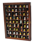 59-Opening Thimble Small Miniature Display Case Cabinet Rack Holder TC01-(Walnut Finish)