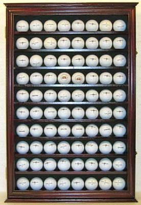 80 Novelty / Souvenir Golf Ball Display Case Holder Cabinet, (Mahogany Finish)