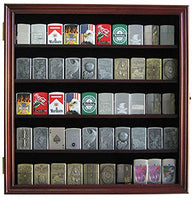 Military/Sport Cigarette Lighter Matchbook Display Case Wall Cabinet. LC01 (Mahogany Finish)