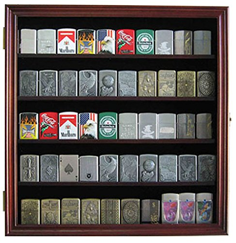 Military/Sport Cigarette Lighter Matchbook Display Case Wall Cabinet. LC01 (Black Finish)