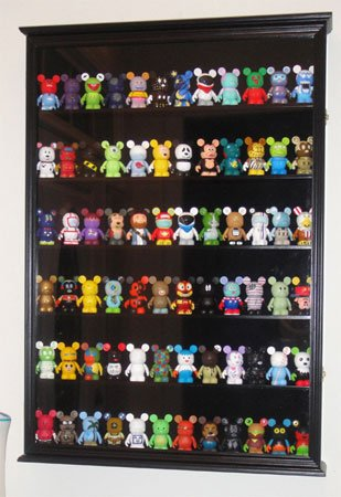 LARGE Wall Curio Shadow Box Display Case Cabinet for Vinylmation or Miniature Figurines - Black Finish