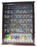 Large 72 Shot Glass Display Case Cabinet Rack Holder-Mirror Back (Cherry Finish)