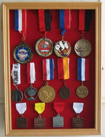 Sport/Military Medals, Pins, Patches, Ribbons Display Case Cabinet, MPC01(RED)-OA