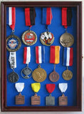 Sport/Military Medals, Pins, Patches, Ribbons Display Case Cabinet, MPC01(BLU)-CH