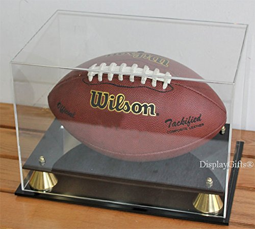 DisplayGifts UV Protection Football Display Case Holder, ALL 4 sides visible (AC-FB05)