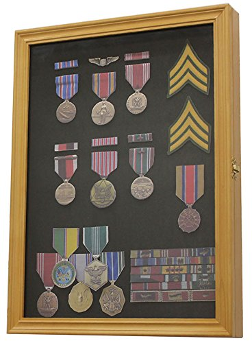 Military Medals, Pins, Patches, Insignia, Ribbons Display Case Wall Frame Cabinet (Oak Finish)