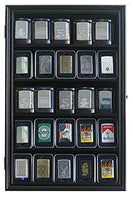 Wall Display Case Cabinet Shadowbox to Hold Sport/Military Lighters in Original box (Black)