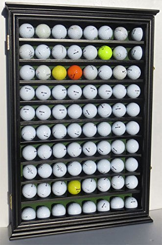 80 Novelty / Souvenir Golf Ball Display Case Holder Cabinet, with glass door, (Black Finish)