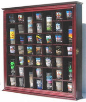 41 Shot Glass Display Case Cabinet Holder Rack, Cherry Finish