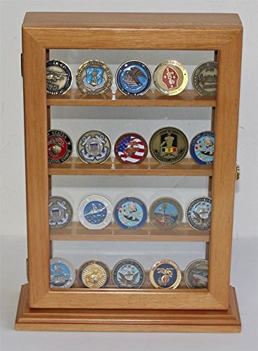 Display Case Stand for Sport/Military Cigarette Lighters, Glass Front. LC14 (Oak)