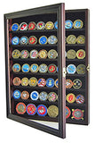 Military Challenge Coin Display Cabinet Rack Shadow Box Wood Cabinet, COIN56 (Mahogany)