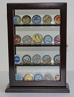 Display Case Stand for Sport/Military Cigarette Lighters, Glass Front. LC14 (Mahogany)