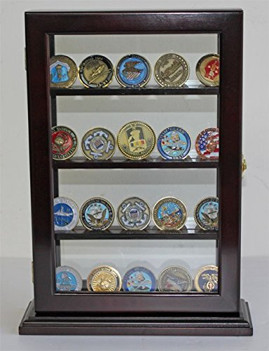 Display Case Stand for Sport/Military Cigarette Lighters, Glass Front. LC14 (Black)