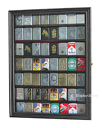56 Sport/Military Cigarette Lighter Display Case Rack Holder Cabinet, (Black Finish)