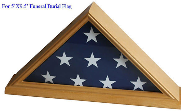 DisplayGifts 5' X 9. 5' Flag Display Case For Veteran, Memorial Flag-Beveled Base For Nameplate, Cherry Finish, SOLID WOOD FC06 (Oak, For 5'X9. 5' Flag)