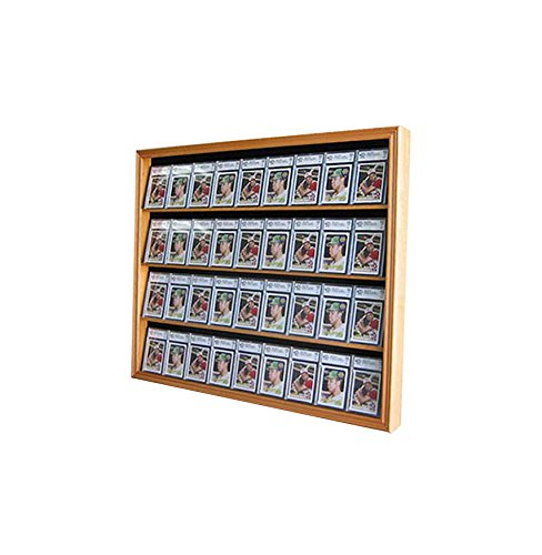 Lockable 36 Graded Sports Card Display Case, for Football, baseball, basketball, Hockey cards-OAK Finish (CC02-OA)