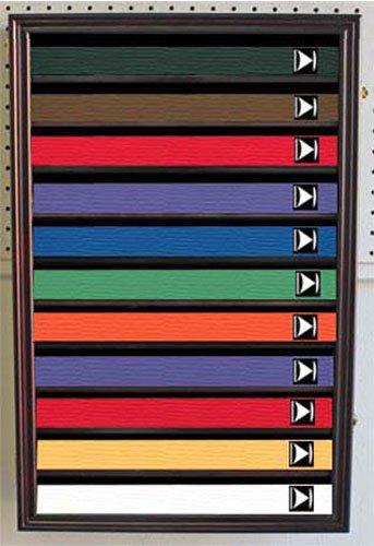 Martial Art/Karate/Taekwondo Belt Display Case Rack Wall Cabinet, with DOOR, K-HW11 (Mahogany Finish)
