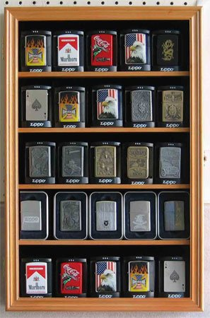 Wall Display Case Cabinet Shadowbox to Hold Sport/Military Lighters in Original box (Oak)