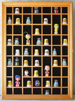 59 Thimble Miniature Display Case Cabinet, glass door, Solid Wood-Oak Finish (TC01- OA)