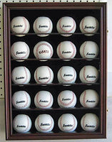 Solid Wood 20 Baseball or Cube Display Case Cabinet, with 98% UV protection. with Lock and Keys (Cherry Finish)