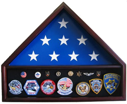 5' X 9.5' Burial / Funeral Flag Display Case with Military Shadow Box bottom, Solid Wood, Mahogany Finish (FC10-MA)