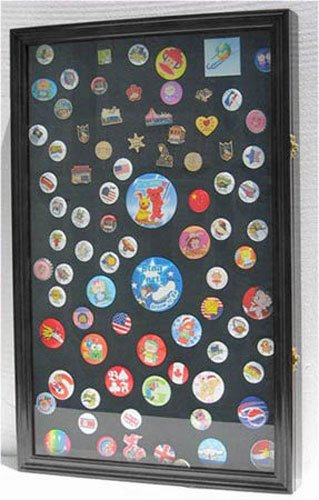 LARGE Pin Medal Display Case Shadow Box Display Case, with Glass Door, (Black Finish)