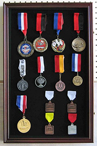 LARGE Pin Medal Display Case Shadow Box Display Case, with Glass Door, (Cherry Finish)