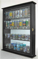 "Wall Curio Cabinet / Wall Shadow Box Display Case for Figurines or Mini 4"" Mini Bobble Heads, tall shot glasses, CD11-BLA"