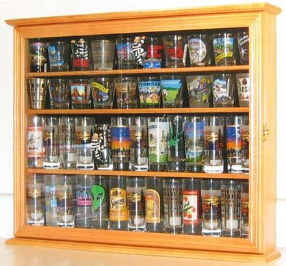 Souvenir / State Shot Glass and Tall Shooter Display Case Holder Cabinet, OAK Finish (SC04B-OA)