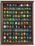 Large Toy/Antique/Glass Marble Balls/Bouncy Ball Display Case Holder Cabinet - WALNUT Finish