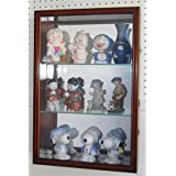 Wall Curio Cabinet / Collectors Display Case Wall Mounted, Glass Door, Mirrored Back, CD01B-WAL