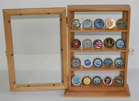 4 Shelves Military Challenge Coin or Antique Coin Display Case Holder Stand Rack w/ UV Protection Oak Finish (COIN14-OA)